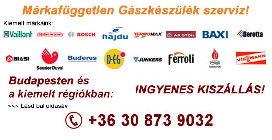 Gázkészülék márkák - Vaillant, Junkers, Termomax, Ariston, Baxi, Beretta, Biasi, Saunier duval, Ferroli, Fég,
